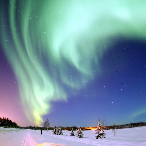 Hunting Northern Lights by Snowmobile with Picnic