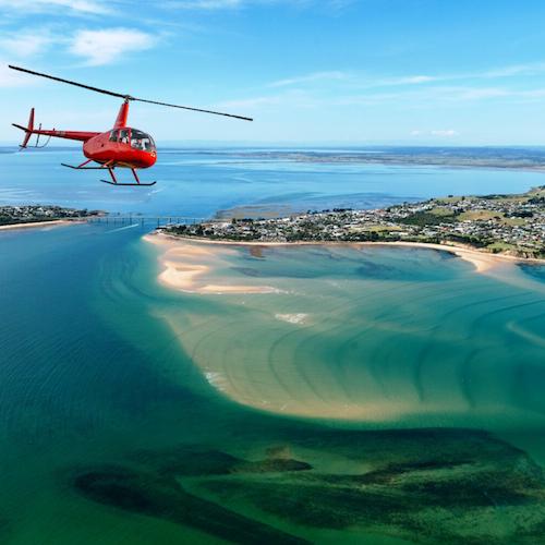 Vuelo en helicóptero de 12 minutos: Phillip Island, Rhyll, Cowes y circuito del Gran Premio